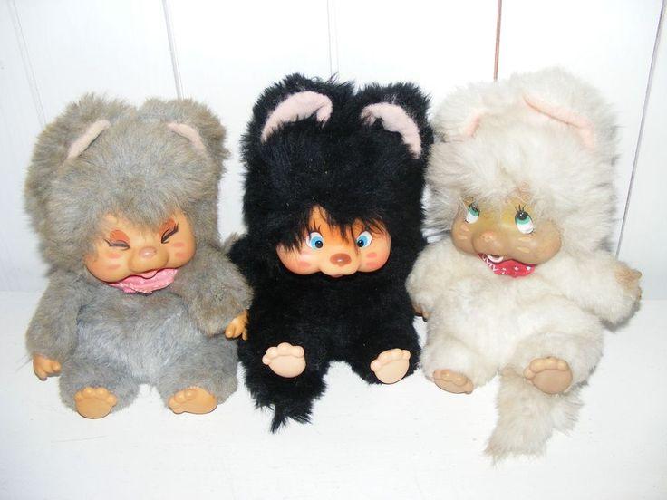 3 süße Nyamy Monchichi Monchhichi Washino JAPAN 80er Jahre Spielzeug Nyami Katze
