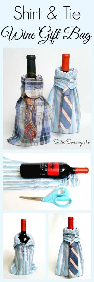 Whether it's Father's Day or the winter holidays, shopping for the men in our lives can be tough! But here's an easy DIY for wine and whiskey /bourbon / liquor lovers: A Bottle Gift Bag made from a repurposed or upcycled men's button down dress shirt and neck tie! Simple low-sew craft project that yields big smiles and thank you's! #SadieSeasongoods / www.sadieseasongoods.com