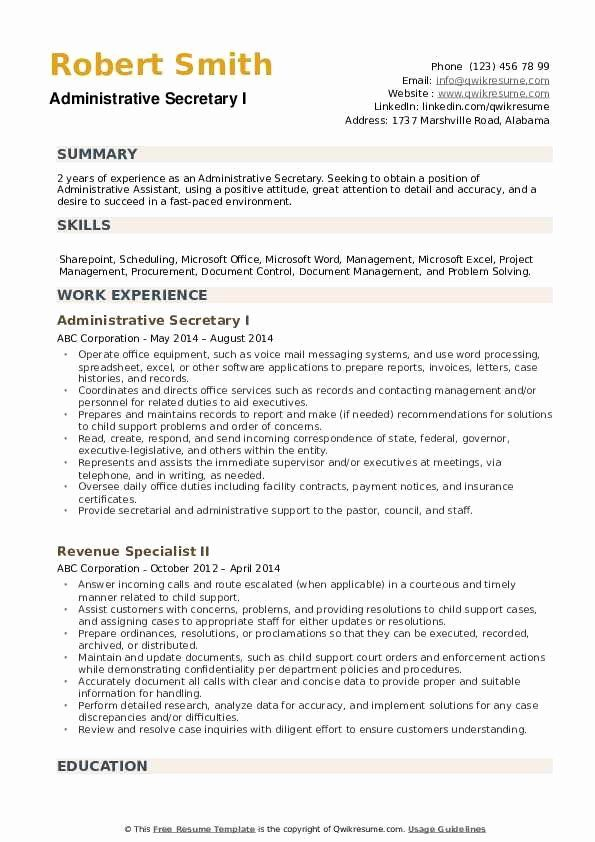 Secretary Job Description Resume Unique Administrative Secretary Resume Samples In 2020 Resume Examples Resume Resume Objective Examples