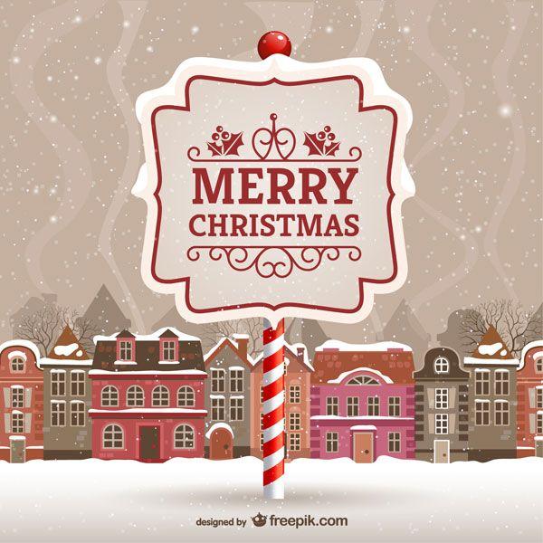 雪の積もる街並みと看板のクリスマスカードのイラストテンプレート