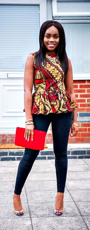 Beautiful and bold, make a statement this season in our ultra flattering DASHIKI shirt peplum top. African top, Ankara top, ankara shirt, african print shirt, african shirt, Dashiki for women, African (Top Design For Women)