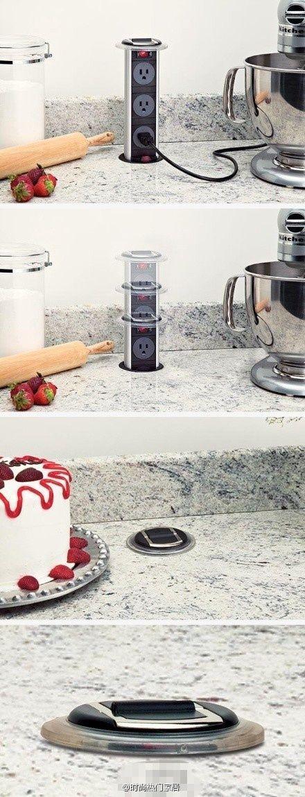 Una forma única y singular de esconder los conectores en la cocina, permite que el diseño conserve una línea limpia y moderna