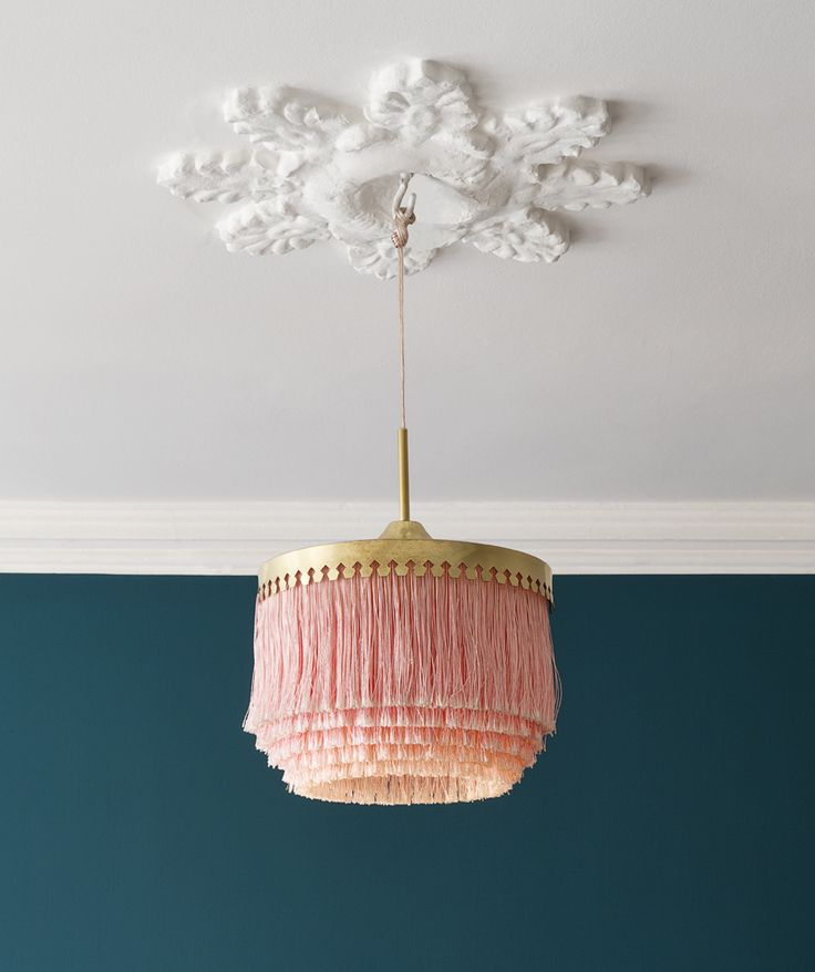 Hans-Agne Jakobsson, 1960's, Sweden | Ceiling light with pink fringes