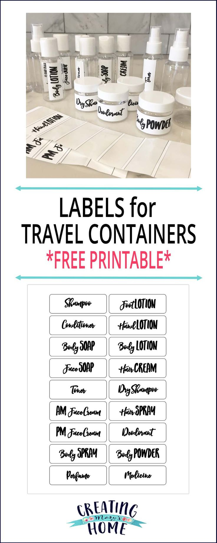 Labels for Travel Containers {FREE Printable} - creatingmaryshome.com