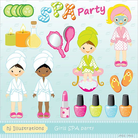 Girls Spa Party Digital Clipart Scrapbooking Web Design Card Design Birthday Party