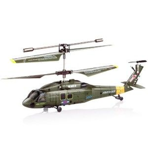 Syma Helicopter: Syma S102G 3.5 Channel RC Helicopter with Gyro It looks like the real US Army Black Hawk and comes with a stabilizing gyro for easy flight.  This helicopter is slow enough for any beginner learning how to fly. For it's size, it has finer control than all the others.  http://awsomegadgetsandtoysforgirlsandboys.com/syma-helicopter/ Syma Helicopter: Syma S102G 3.5 Channel RC Helicopter with Gyro