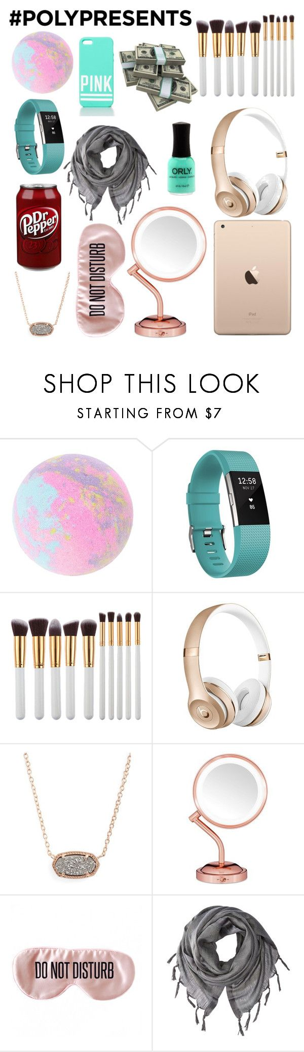 """#PolyPresents: Wish List"" by tealgoldpineapple ❤ liked on Polyvore featuring Fitbit, My Makeup Brush Set, Kendra Scott, Victoria's Secret, Conair, BaubleBar, Love Quotes Scarves, contestentry and polyPresents"