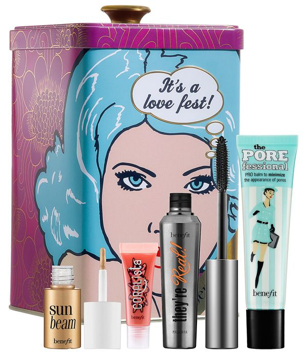 It's love at first sight for Benefit's pop art-inspired tin filled with 4 of their most popular makeup goodies: http://beautyeditor.ca/2013/11/09/benefit-its-a-love-fest/