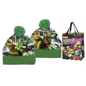 Czapka jesienna / zimowa z torbą prezentową Wojownicze Żółwie Ninja