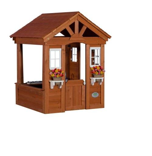 Outdoor Play House Cedar Backyard Wooden Kids Cottage Clubhouse Playhouse Toy
