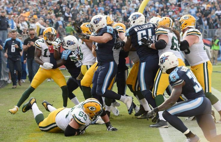 Packers vs. Titans:  47-25, Titans  -  November 13, 2016  -      Green Bay Packers and Tennessee Titans players scuffle after Green Bay Packers quarterback Aaron Rodgers was hit after scoring a touchdown in the second half of an NFL football game Sunday, Nov. 13, 2016, in Nashville, Tenn.