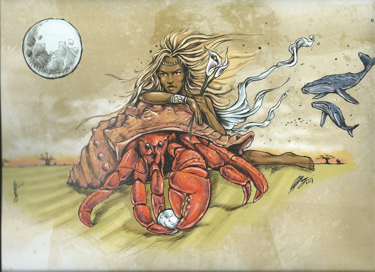 CANCER - African Zodiac from 2014 Art Publishers Calendar Illustrations by Blue Ocean Design