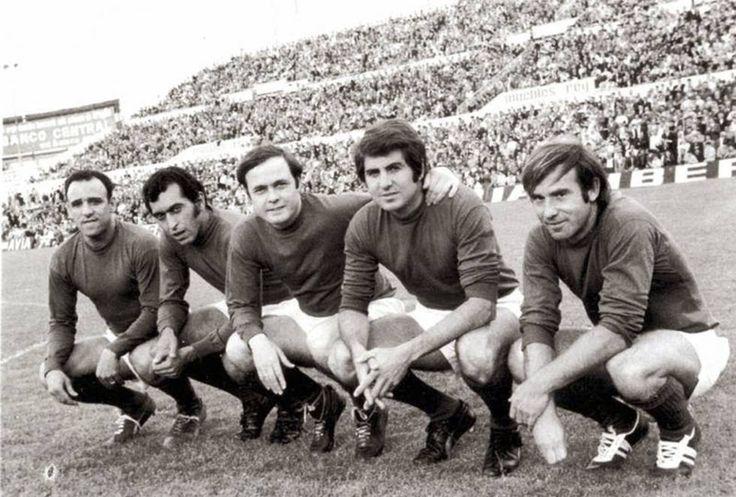 REAL ZARAGOZA-1963-66-Canario, Santos, Marcelino, Villa y Lapetra. Los Cinco Magníficos.