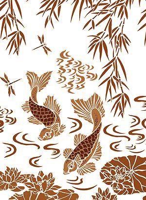 Koi Carp Stencils Fish Mural Stencils