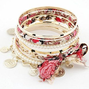 [grlhx1120001]Unique Bowknot Multilayer Bracelet...I believe I can make my own version... inspiration