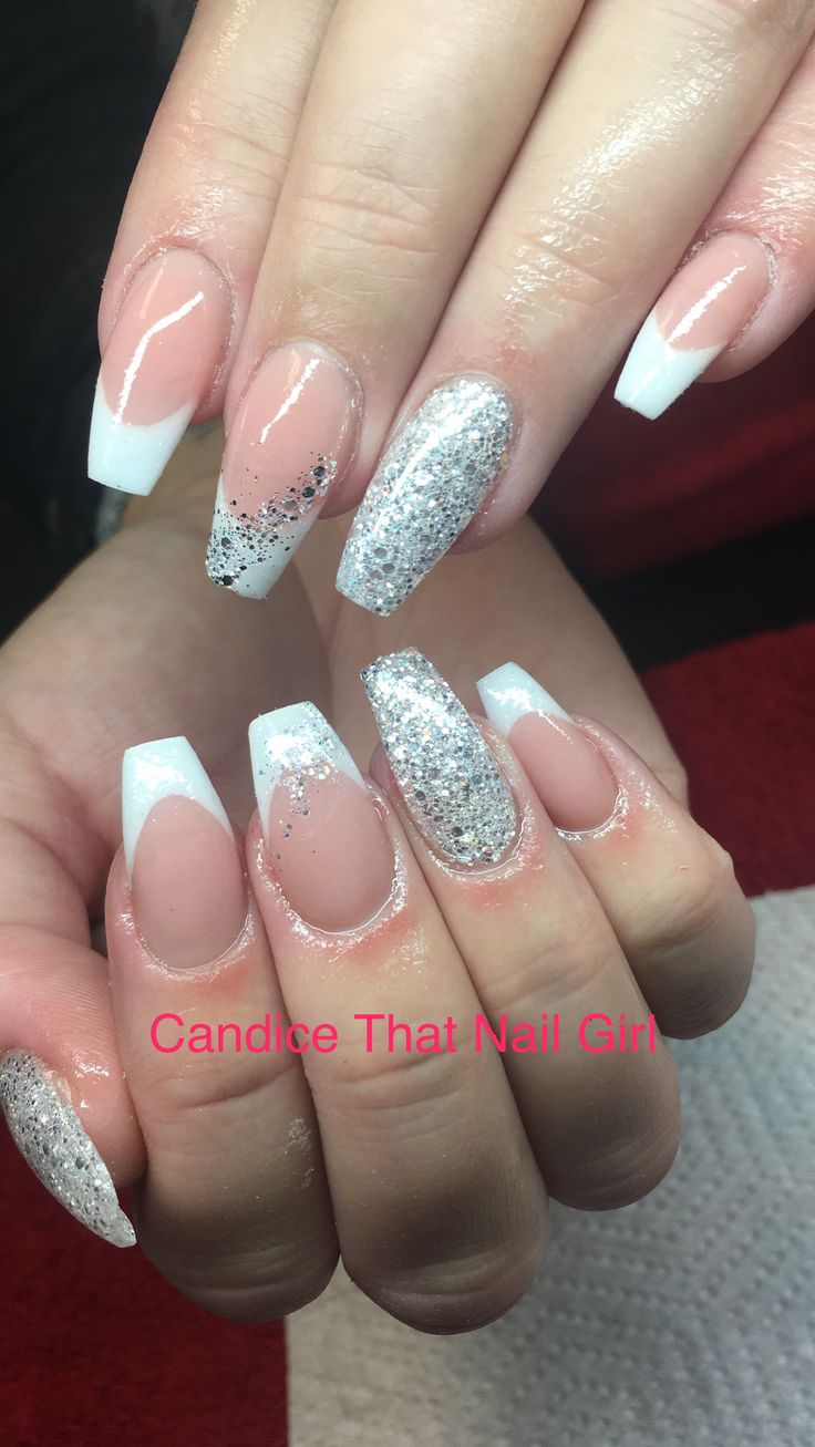 # pink&white acrylic nails