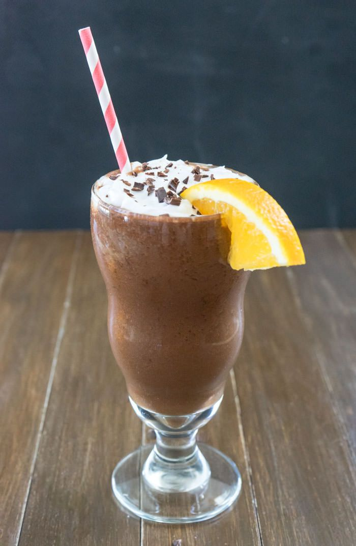 Orange Mocha Frappuccino - Almond milk, frozen banana, ice cubes, orange, dates, cocoa powder, Starbucks Via packet, vanilla