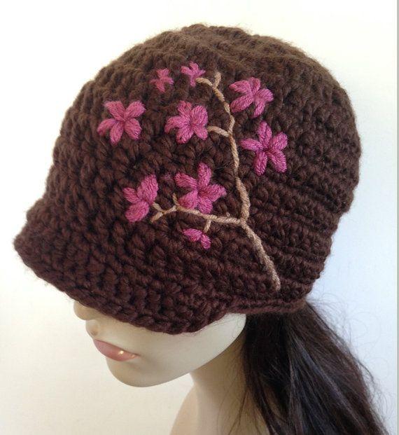 Sombrero del sombrero de las mujeres de flor de cerezo ala mujer ala gorro sombrero sombrero marrón invierno sombrero sombrero de lana - hecho a la medida del árbol rama de flor de cere