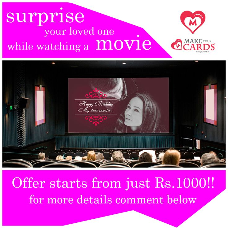 An unimaginable surprise, now at your fingertip!!  Run a #birthday wish message for your loved one at any #Carnival #theatres across Kerala!!! Check out https://www.makeyourcards.in/surprises/big-screen-surprise