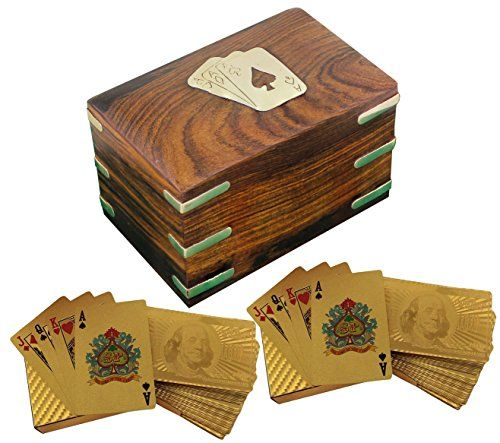 Wooden Playing Card Holder Case  2 Decks of Dollar Gold Plated Playing Cards  Playing Card Travel Case  48 x 3x 3 * Click image for more details.Note:It is affiliate link to Amazon.