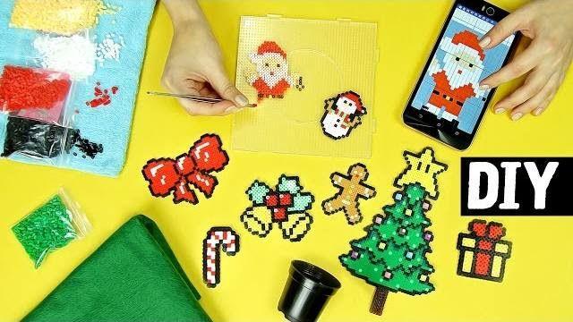 Hama beads: schemi natalizi per addobbi.