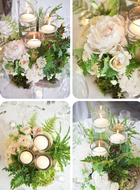 simple, organic centerpieces on flagstone from the ranch
