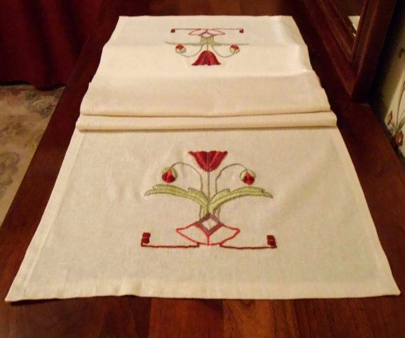 Artes y oficios de la misión estilo, decoración de la casa del artesano, bordado a mano, mesa amapola