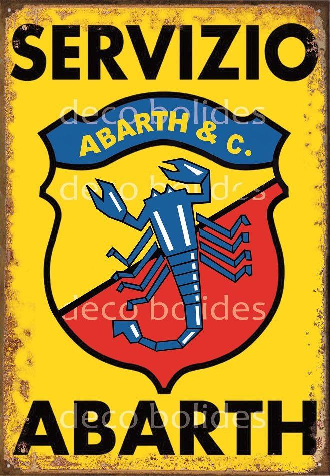 Plaque en Métal Reproduction Publicité D'époque fiat abarth par déco-bolides : Décorations murales par deco-bolides