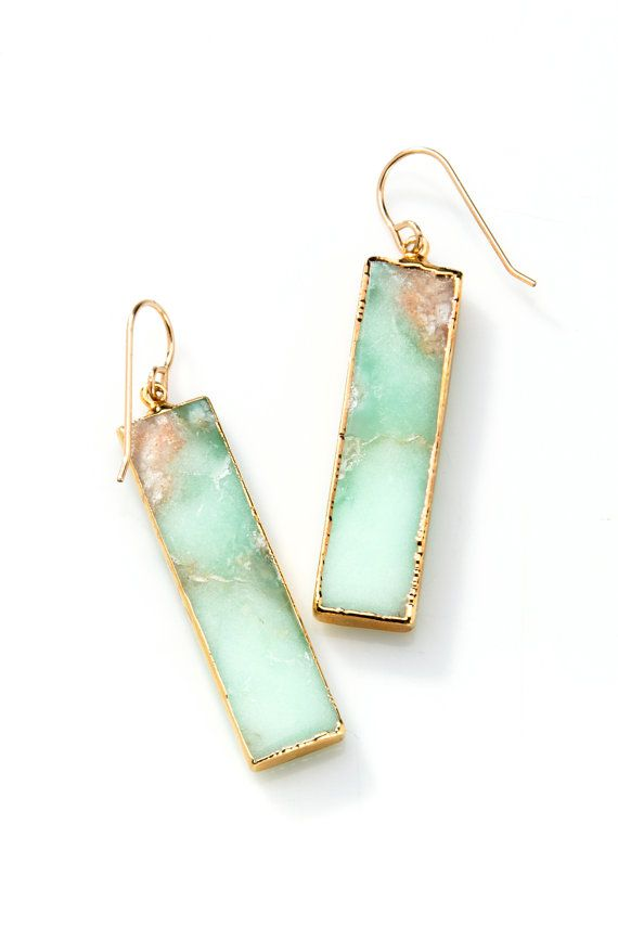 Gold Edged Chrysoprase Bar Drop Stone Earrings with by joydravecky
