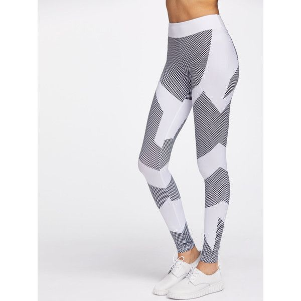 SheIn(sheinside) Color Block Honeycomb Pattern Gym Leggings (€15) ❤ liked on Polyvore featuring activewear, activewear pants, black and white and honey comb