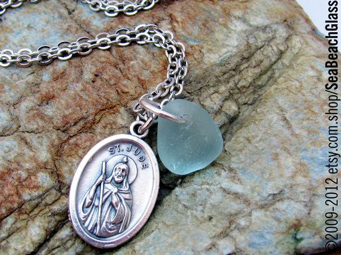 Saint Jude Saint Necklace. Sea Glass Pendant. Catholic Jewelry. St. Jude Patron Desperate, Forgotten, Impossible Causes. Hospital Workers.. $15.00, via Etsy.