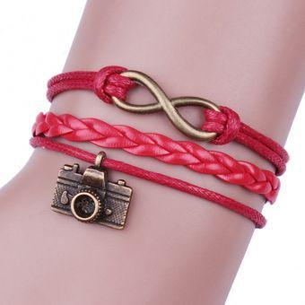 Cocodeal Pulsera de cuero del encanto lindo de la cámara-Rojo