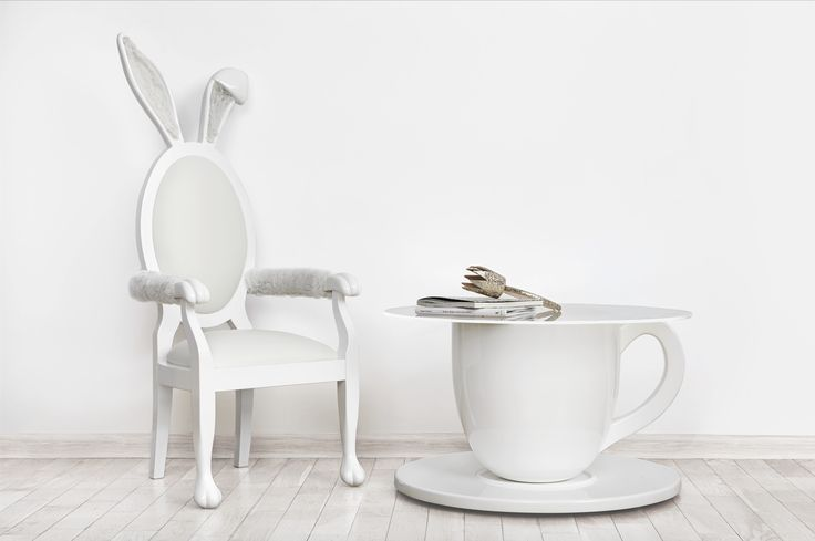 TEA-TIME TABLE and BUNNY CHAIR Jr. from the Alice Collection by BARSTE DESIGN. Luxury kid's design, custom-made furniture, limited edition inspired by the fairy tale of Alice in Wonderland. Order it now and let your home be an Instagram hit! www.barste.com