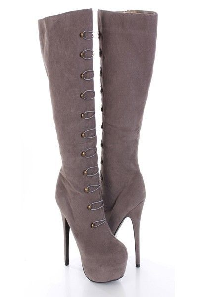 Hey girls you know what time it is! This is the season for all you sexy ladies to sport the hottest trend in mid calf boots. Good for any occasion, it will compliment your outfit whether you wear a sexy mini dress or some tight skinnies. This style features a faux suede, lace up hook detail, stitched detail, cushioned foot bed, and finished with a platform. Approximately 2 in platform, 6 in heel, 16 in circumference, 14 in shaft.