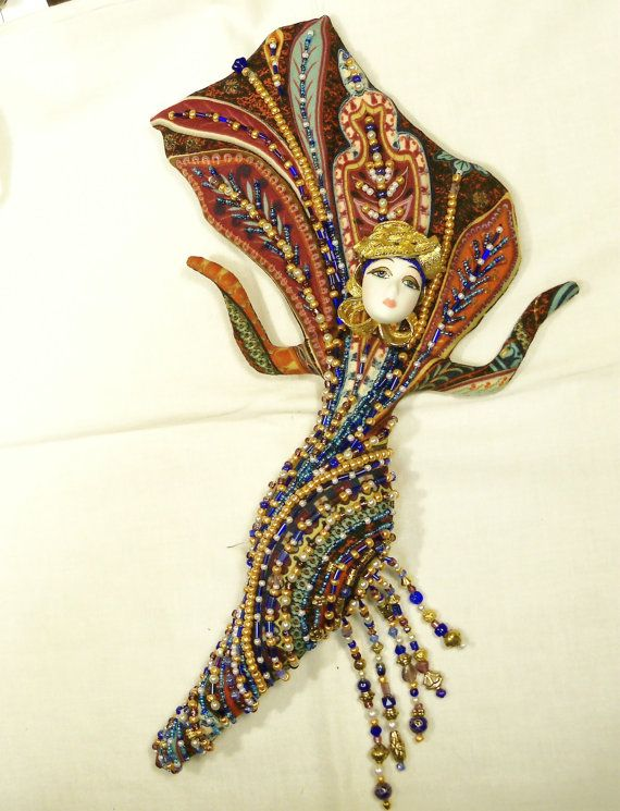 Ooak Art Deco Diva Dorothy cloth art doll BEADED 13in. tall Flying Fantasy