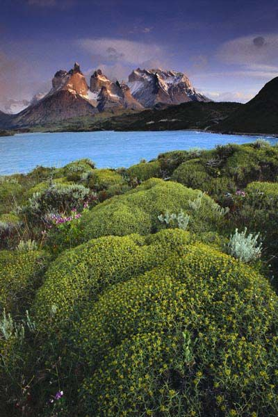Cuernos del Paine at dawn from Lago Pehoe, Patagonia, Chile