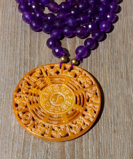 Boho Yin Yang Carved Jade Pendant Necklace, Statement Jewelry, Hand Knotted  Purple Faceted Agate beads Gemstones