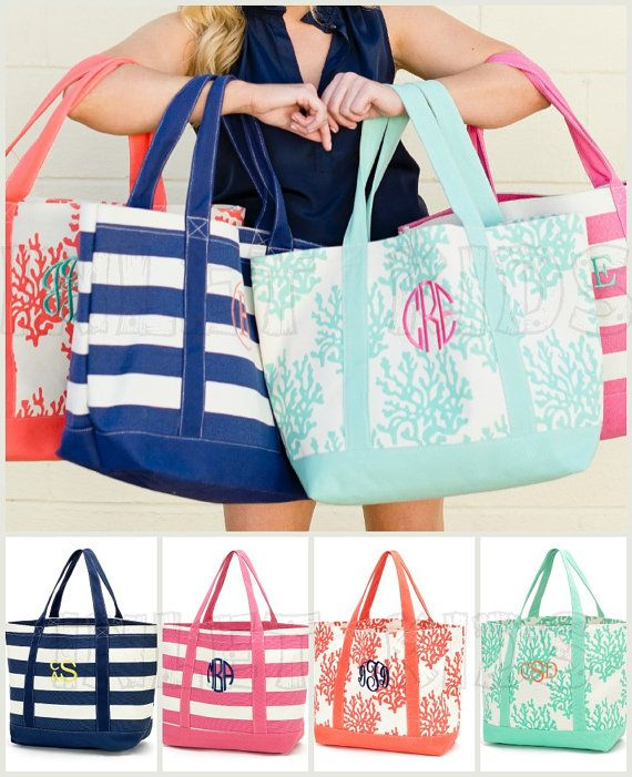Monogrammed Canvas Tote Bag with Personalization by InletKids