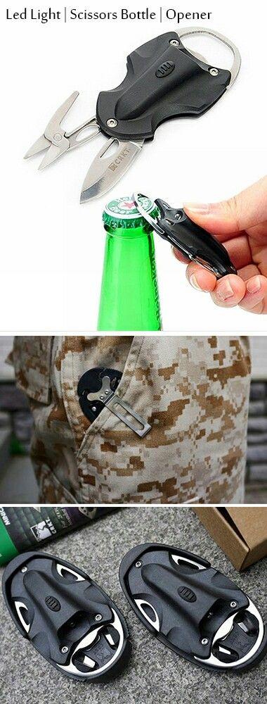 5 in 1 multi-tool outdoor gadget: small knife, scissors, LED light, bottle opener, keychain.