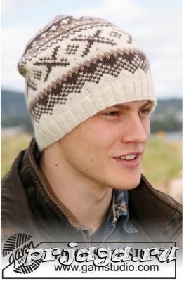 Мужская шапка спицами с норвежским узором