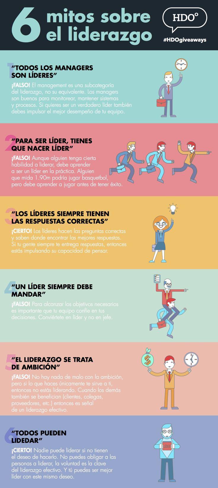 Hola: Una infografía con6 mitos sobre el Liderazgo. Vía Un saludo