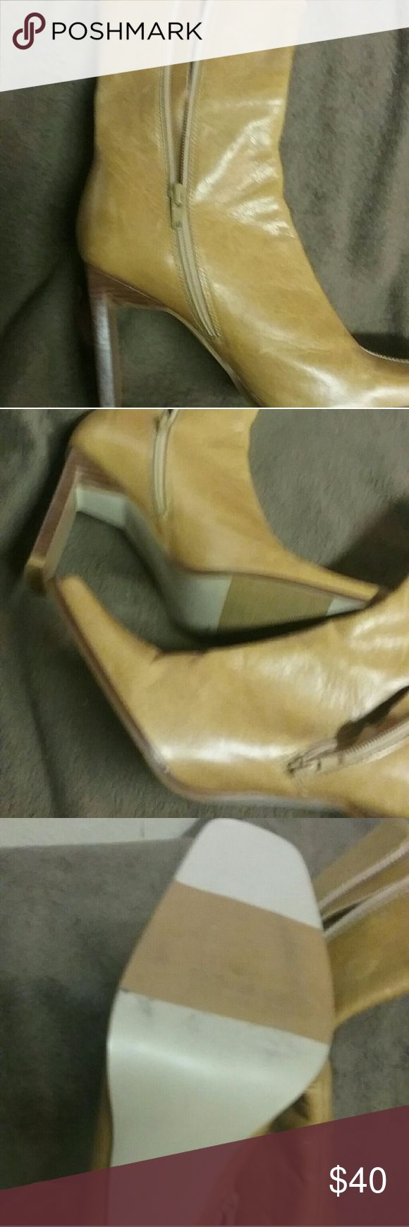 """HIGH HEELED BOOTIES SEXY SQUARE TOE 4.5"""" HEELS Zerres Shoes Heeled Boots"""