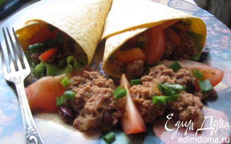 Буррито с фасолью и фаршем   Кулинарные рецепты от «Едим дома!»