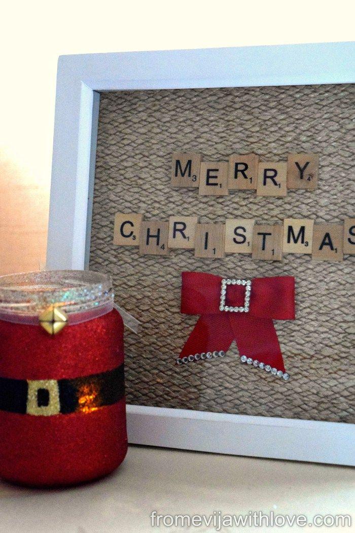 DIY Christmas Scrabble Art Frame