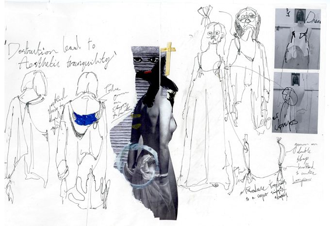 Fashion Sketchbook - fashion design development with fashion sketches, notes & research; fashion portfolio // Thomas Brookes