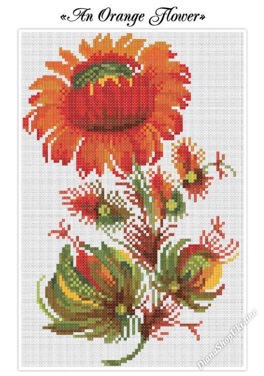 An Orange Flower  Cross Stitch Pattern PDF  by DianaShopUkraine