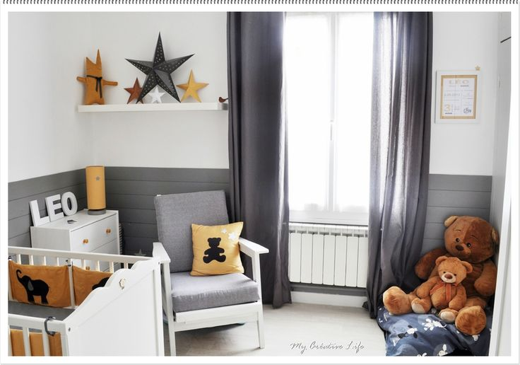 chambre bébé, gris, jaune et blanc baby's room, nursery, grey, yellow and white