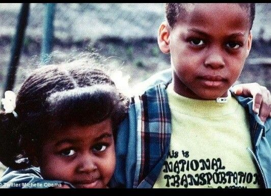 What happened?? A young Michelle Obama and her brother Craig. Craig was a good-looking boy.