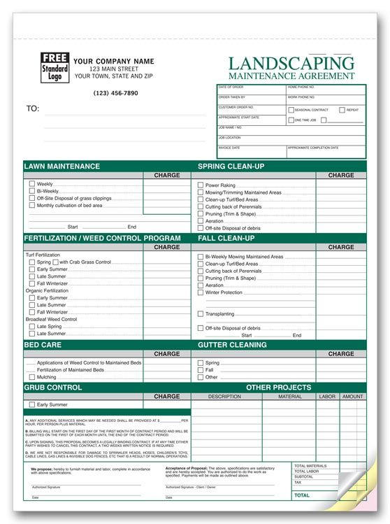 free printable lawn service contract