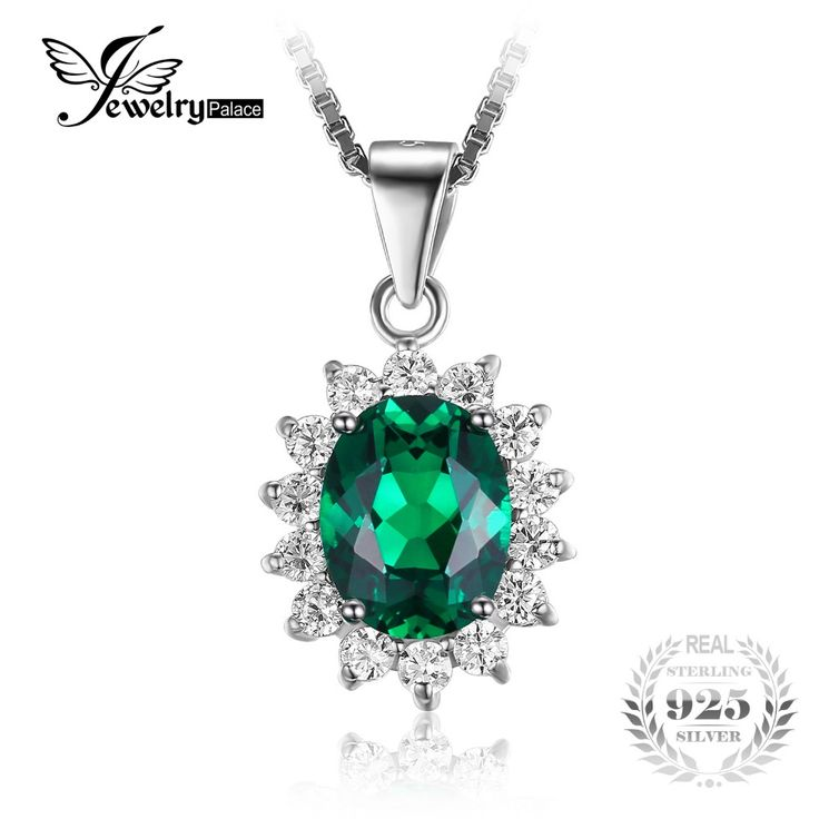 JewelryPalace Princess Diana William Middleton's 2.5ct Created Russian Nano Emerald 925 Sterling Silver Pendant Without a Chain